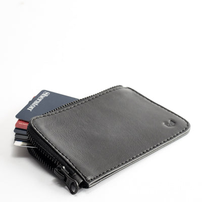 Style. Black slim zip credit card holder, business card pouch, bills / coins minimalist pocket wallet, mens gift.