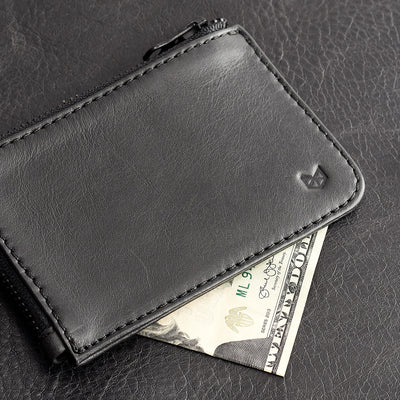 Holds folded bills. Black slim zip credit card holder, business card pouch, bills / coins minimalist pocket wallet, mens gift.