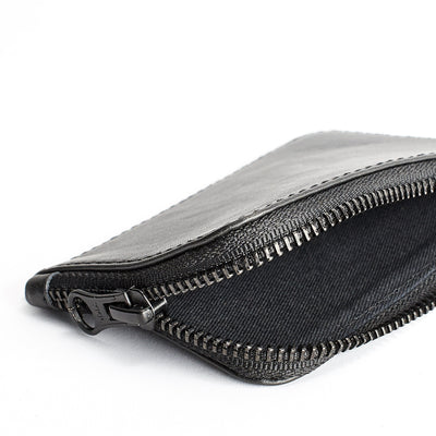 Drill interior detail. Black slim zip credit card holder, business card pouch, bills / coins minimalist pocket wallet, mens gift.