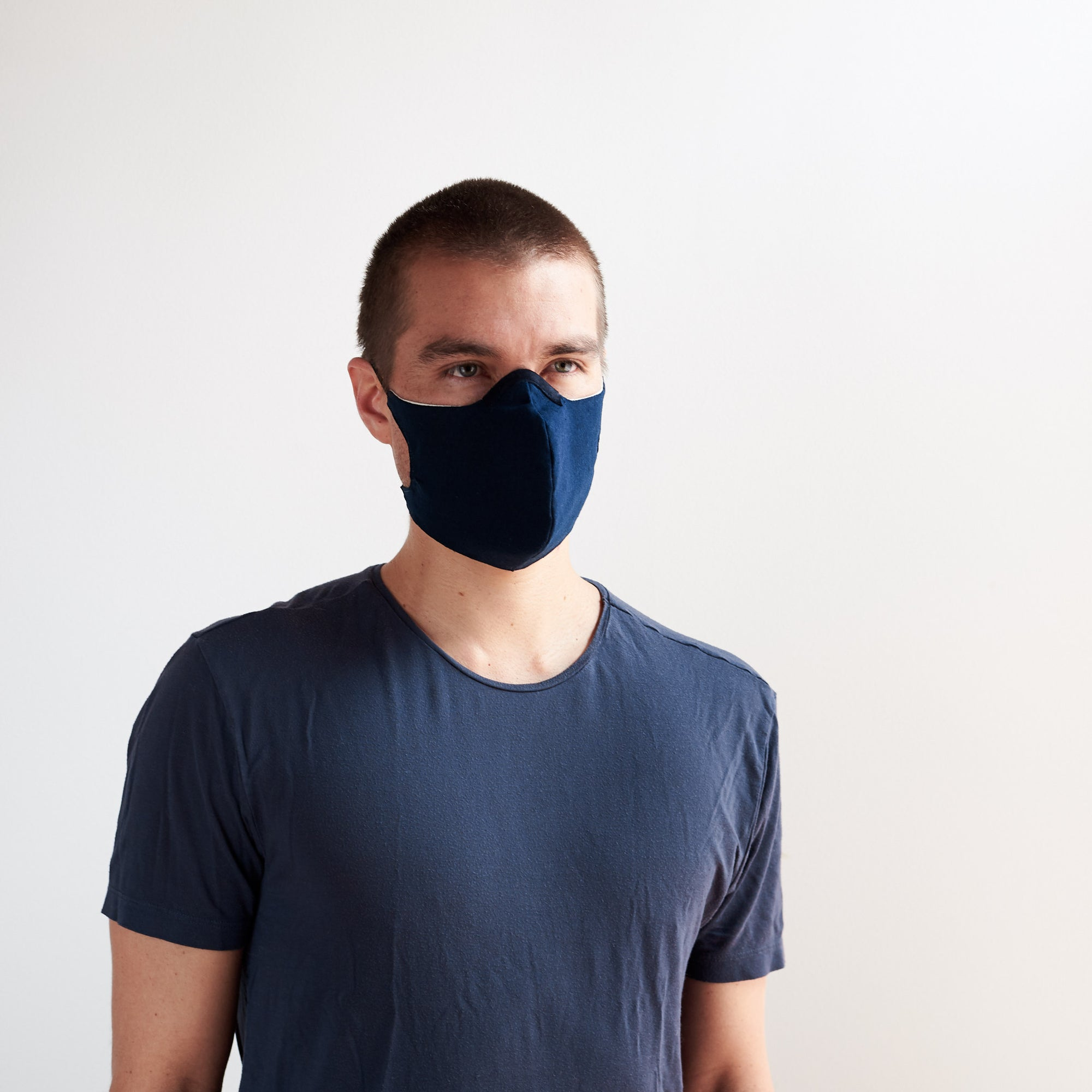 Front view. Blue linen Face Mask by Capra Leather