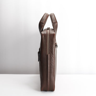 Slim profile. Dark brown leather briefcase for men. Office style mens workbag