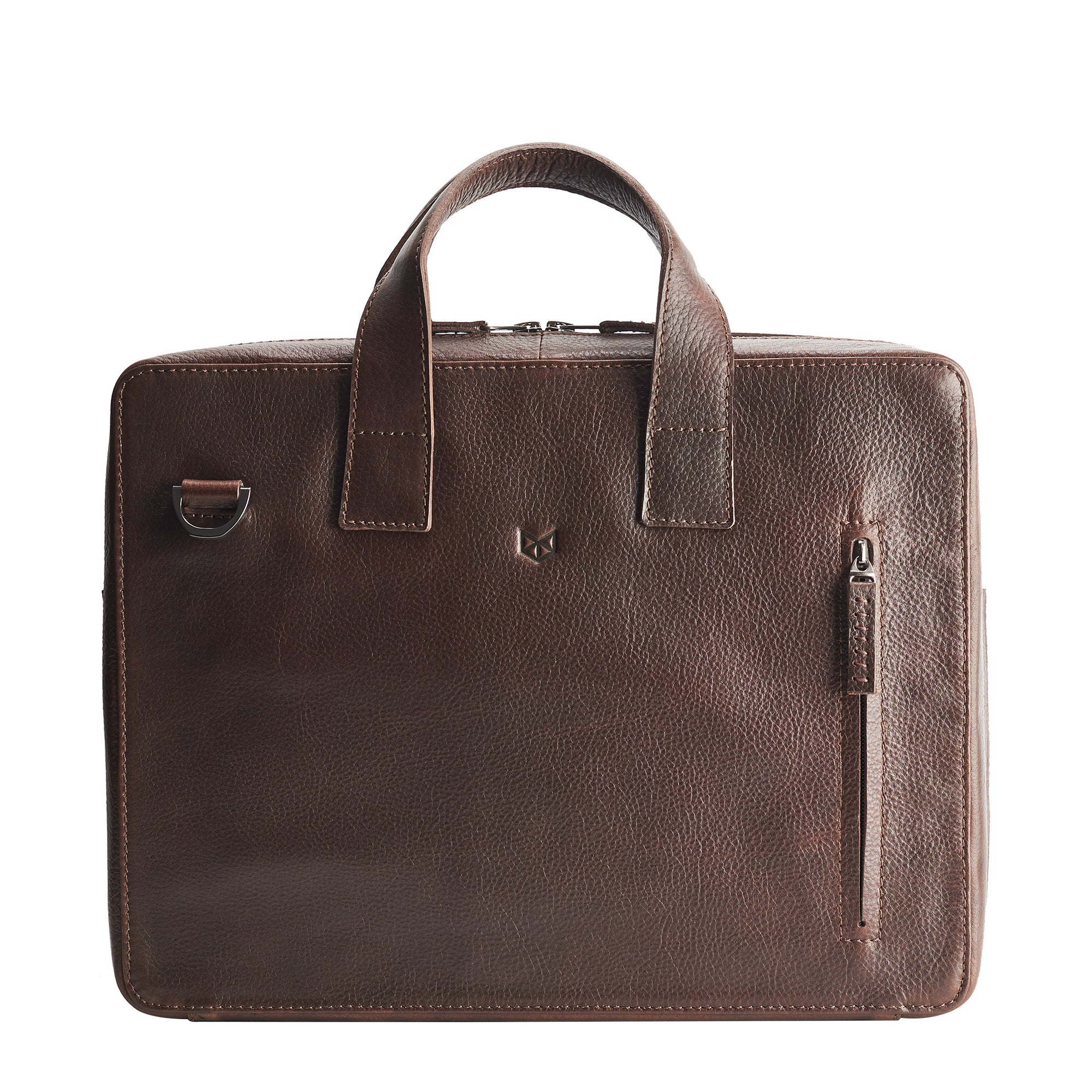 Front. Soft leather briefcase dark brown color