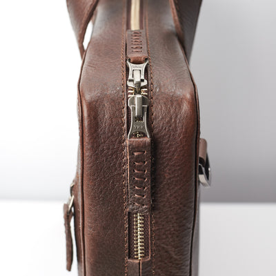 YKK zipper detail. Dark brown leather briefcase for mens gifts. Custom office bag