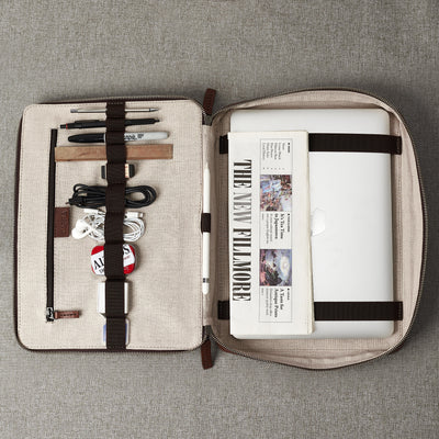 Linen interior. Men's brown leather 15 inch tech laptop tablet bag is perfect to travel organized.