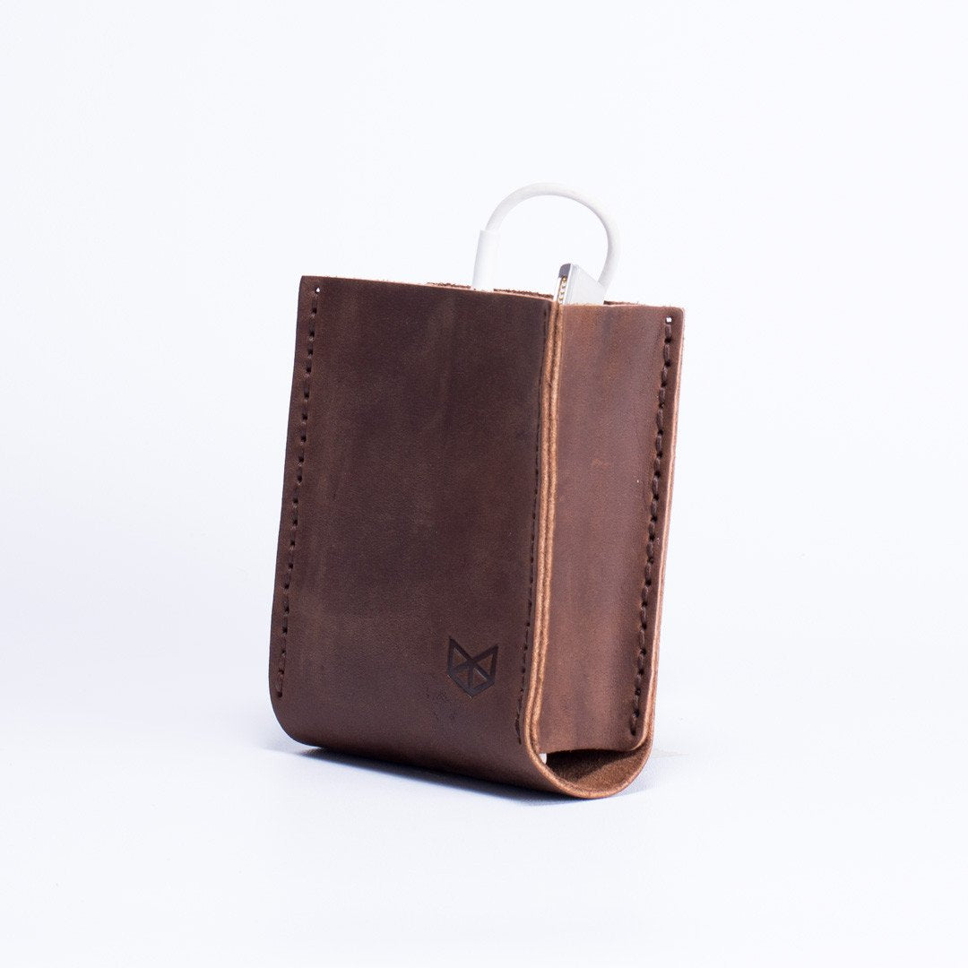 Brown Apple charger leather bag. Office supplies. Cable organizers. Macbook Pro charger leather bag for mens gifts