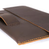 Walker Macbook pro touch bar leather sleeve. Dark brown leather folio for mens gifts.