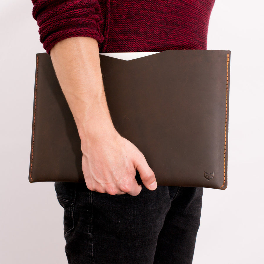 BASIC // MARRON: Leather Dell XPS laptop case by Capra Leather