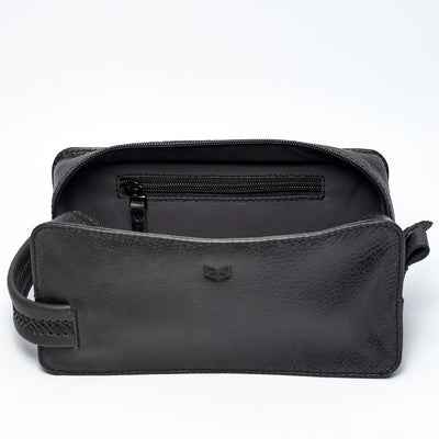 Barber Black LEATHER TOILETRY DOPP KIT Gifts for Men by Capra Leather