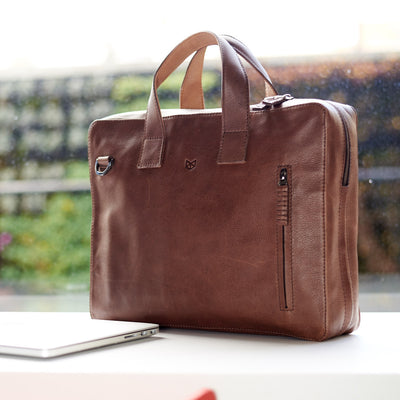 Formal Style. Office brown leather briefcase. Mens formal workbag. Personalized gifts for him
