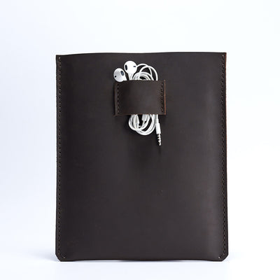 Leather iPad pro case with earphones holder