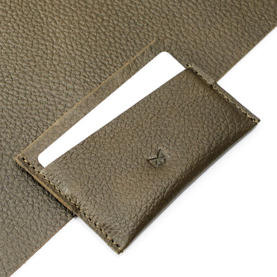 Green leather handmade card holder that fits up to 6 cards