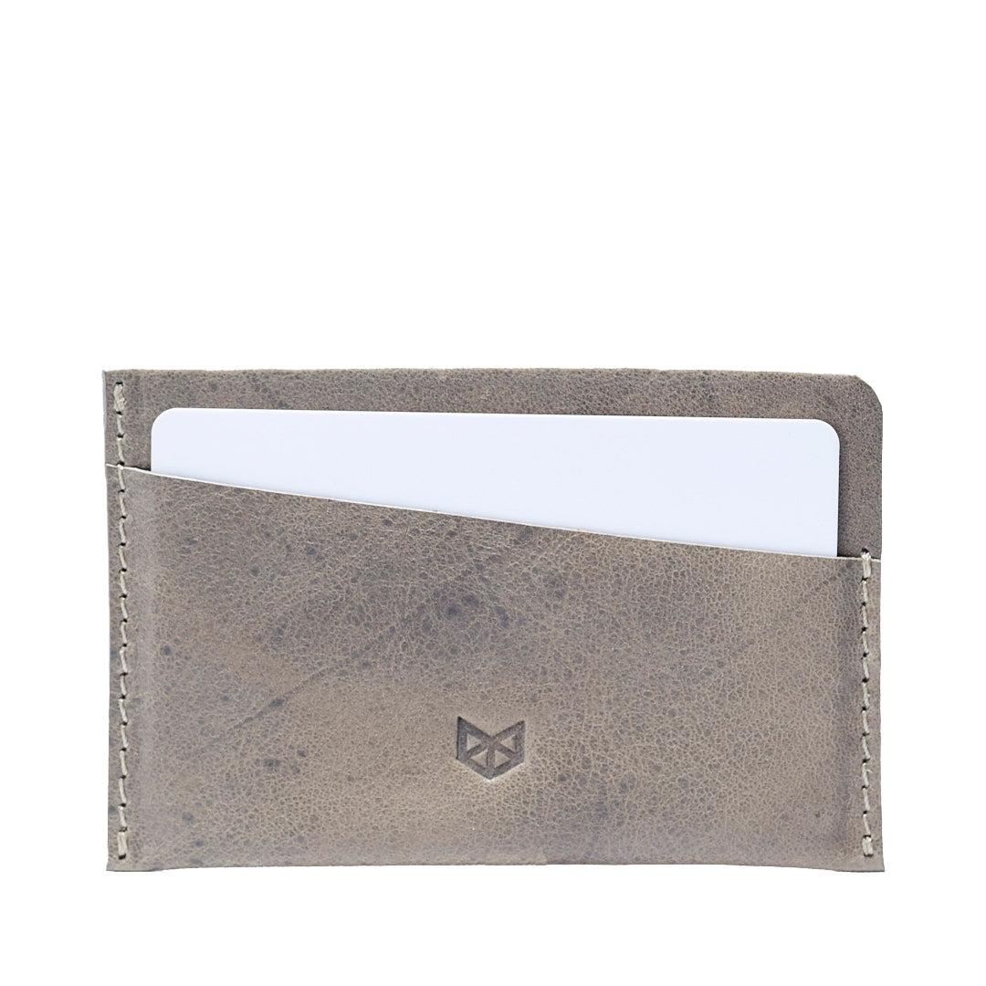 Custom engraving. Grey leather card holder, gifts for men, minimalist designer cards wallet