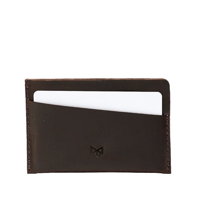 Slim dark brown leather card holder. Gifts for men, leather tan card holder, handmade accessories, minimalist designer cards wallet