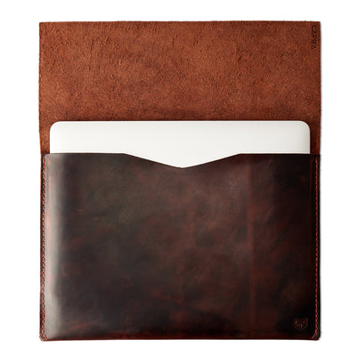"open case in red brown leather. Dell XPS 13"" 15"" sleeve by Capra Leather"