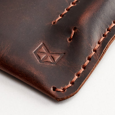 Hand stitched case. Red brown leather sleeve for ASUS Zenbook Pro Duo. Mens gifts