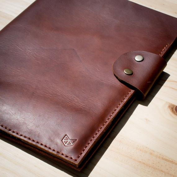 Brown Document Portfolio with Pockets for iPhone, A4 & Letter Papers Men Leather Legal Pad, Mens Gift.