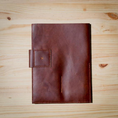 Back. Handmade leather portfolio stitched by hand. Handmade designer document legal pad