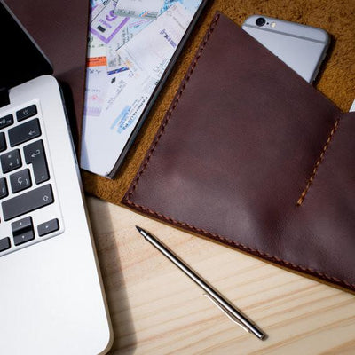 Detail. Handmade leather portfolio.Document Portfolio with Pockets for iPhone, A4 & Letter Papers Men Leather Legal Pad, Mens Gift