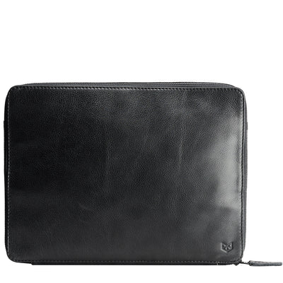 Men's handmade black tech laptop tablet bag for travelers.