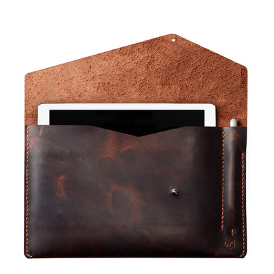 Red brown leather sleeve for Pixel Slate. Mens gifts