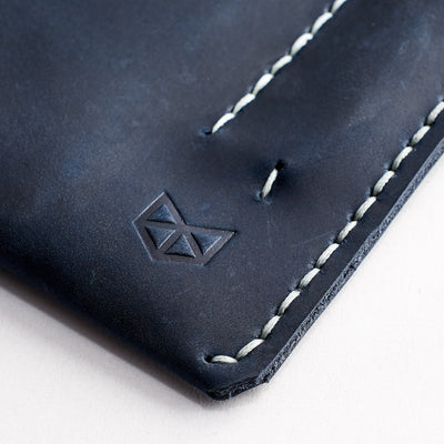 Hand stitched case. Blue leather sleeve for Pixel Slate. Mens gifts