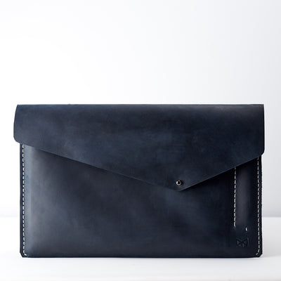 Close case. Blue leather sleeve for Pixel Slate. Mens gifts