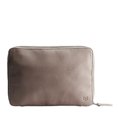 Front. Grey leather Gadget travel bag. Tech devices travel bag