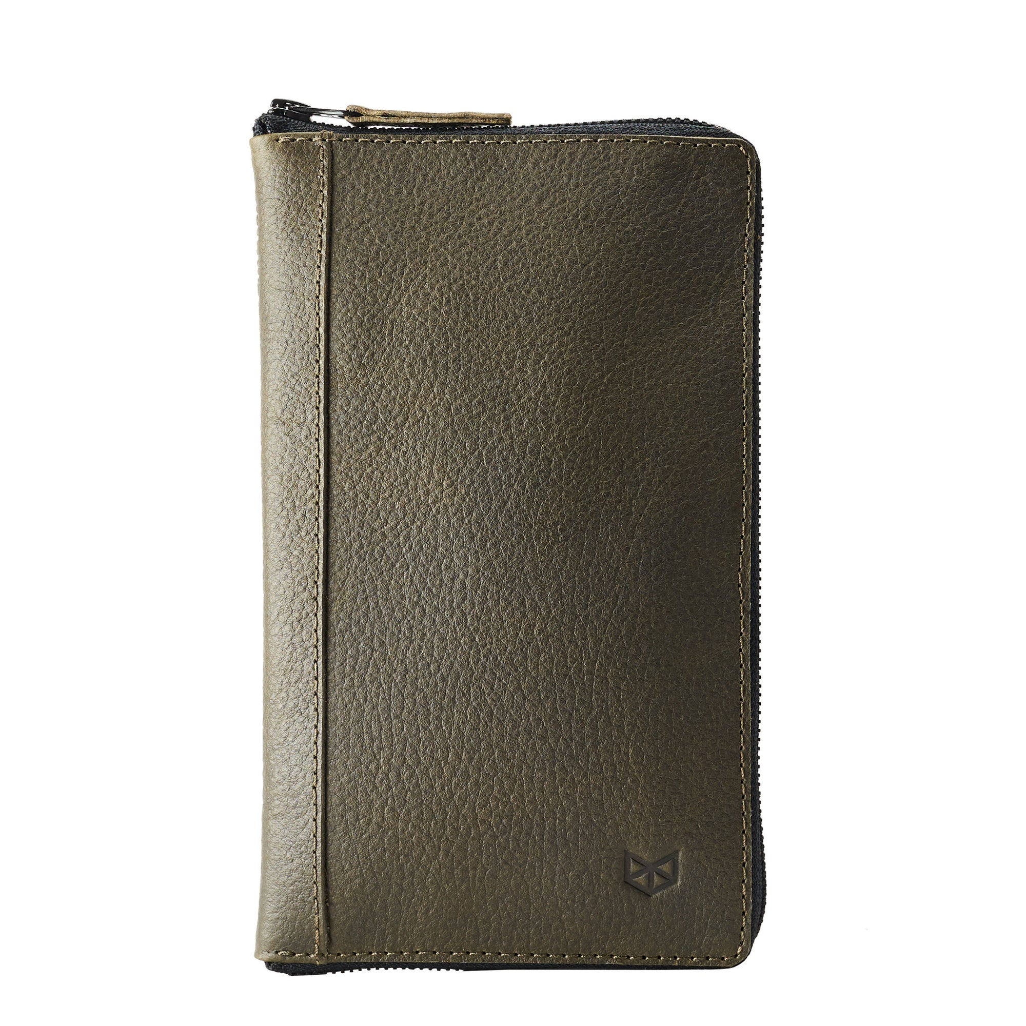 Front green leather passport wallet. Perfect for travelers. Gift for men by Capra Leather.