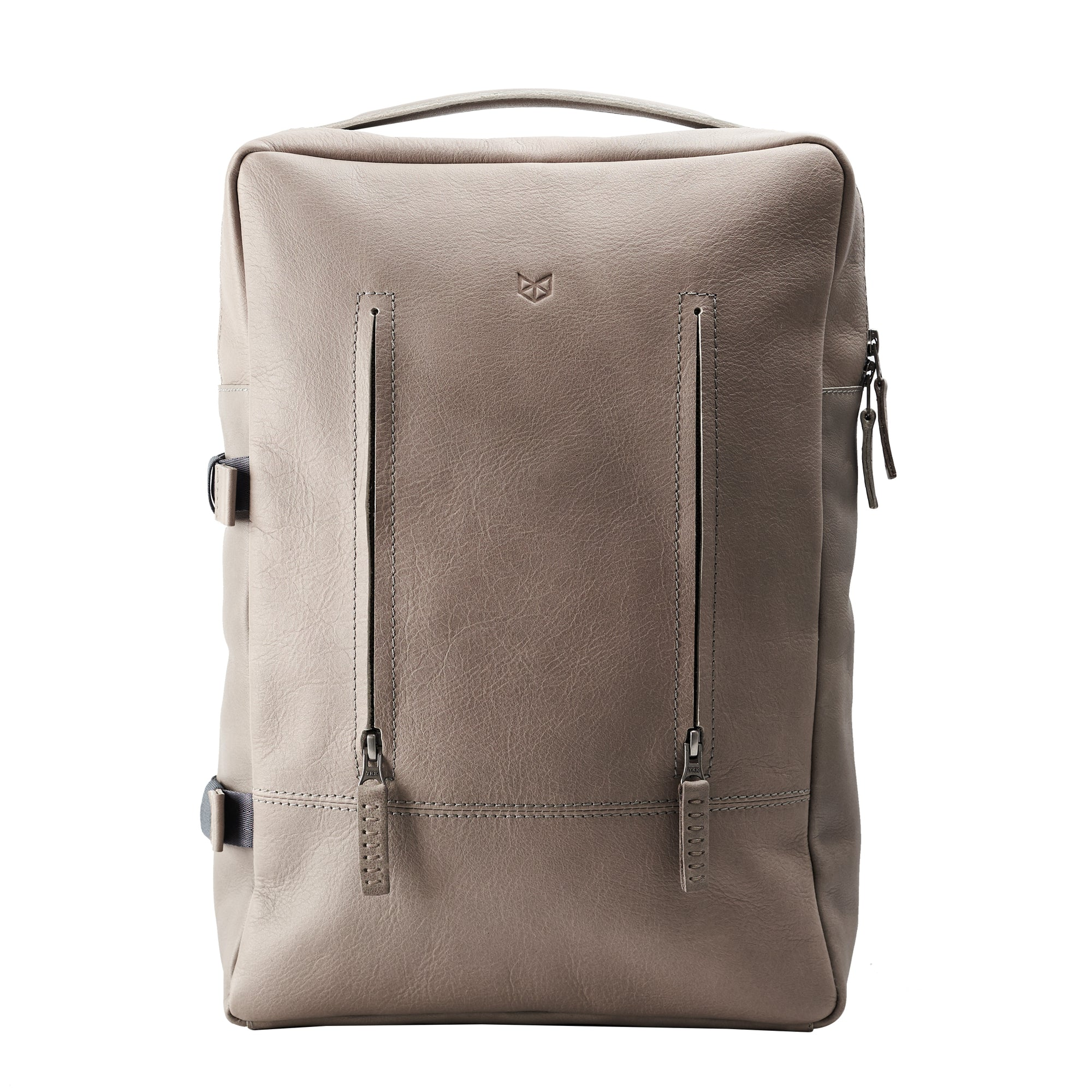 Cool Gray leather backpack for men. Minimalist style rucksack for mens gifts