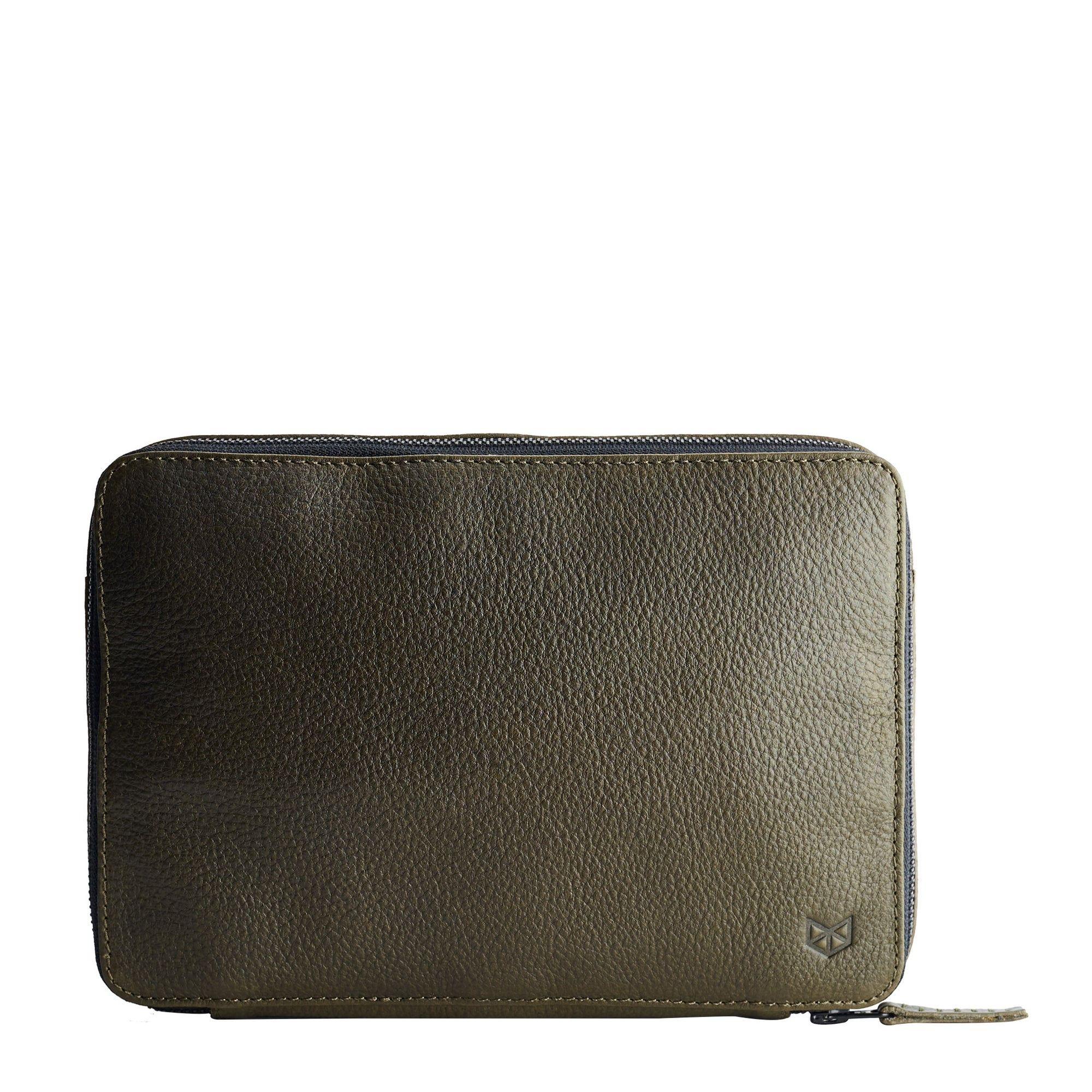 Green leather gadget bag, tech dopp kit, electronic organizer. Fits iPad Pro with Apple pencil.