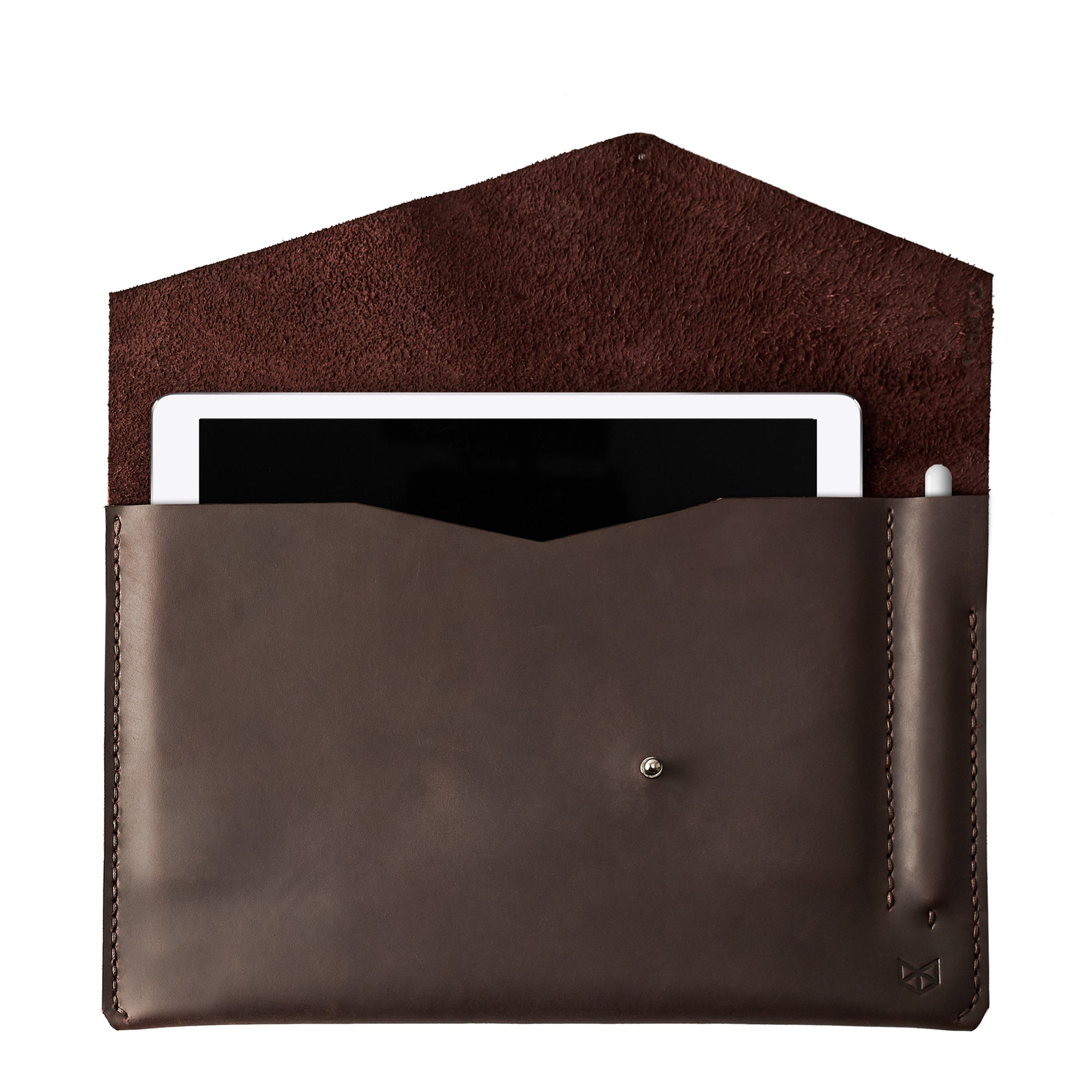 Dark brown leather sleeve for iPad pro 10.5 inch 12.9 inch. Mens gifts