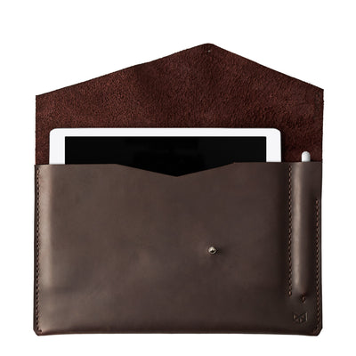 Dark brown leather sleeve for ASUS Zenbook Pro Duo. Mens gifts
