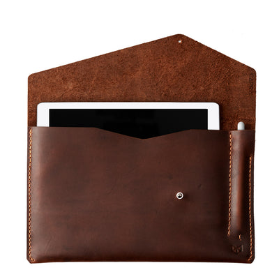 Tan leather sleeve for Pixel Slate. Mens gifts