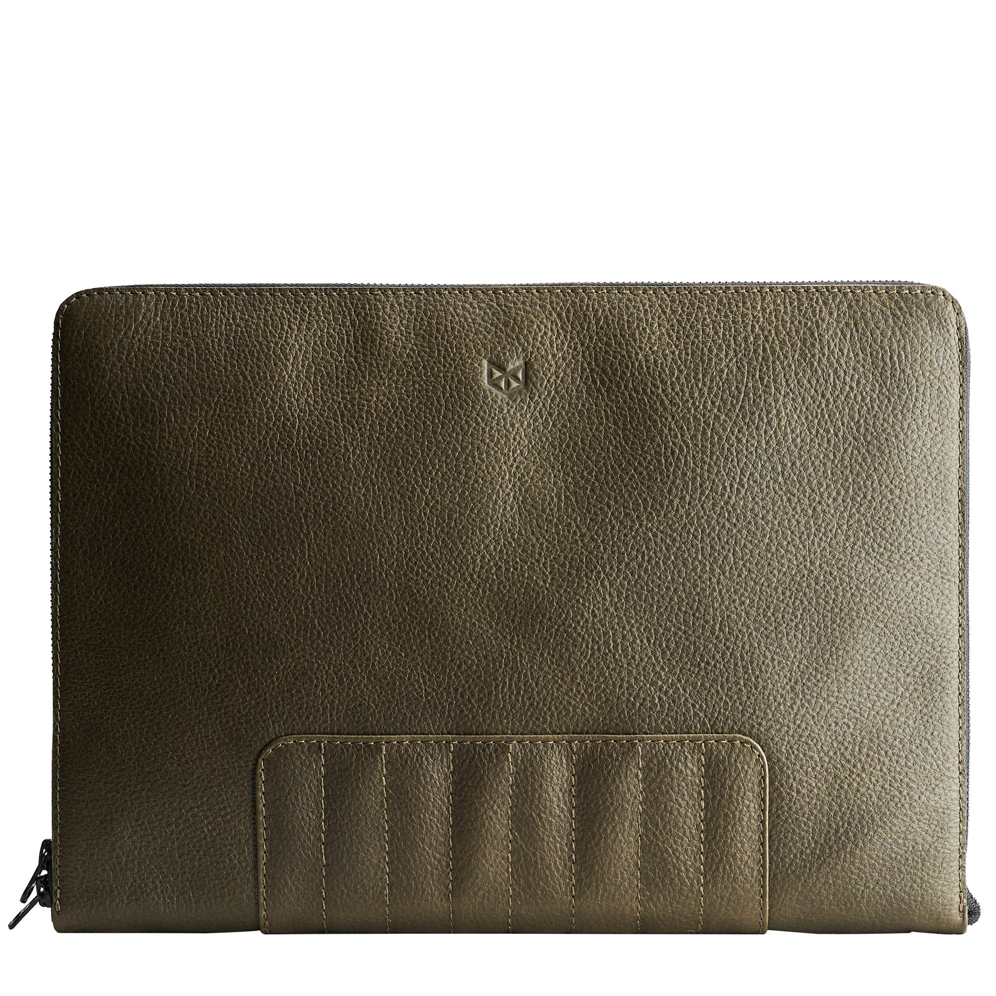 Green Leather Laptop Portfolio Case. Laptops & devices Bag.