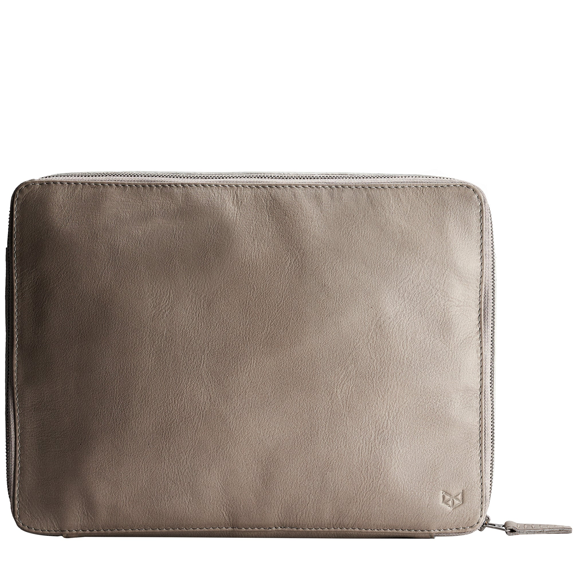Grey leather gadget bag, tech dopp kit, electronic organizer. Fits iPad Pro with Apple pencil.