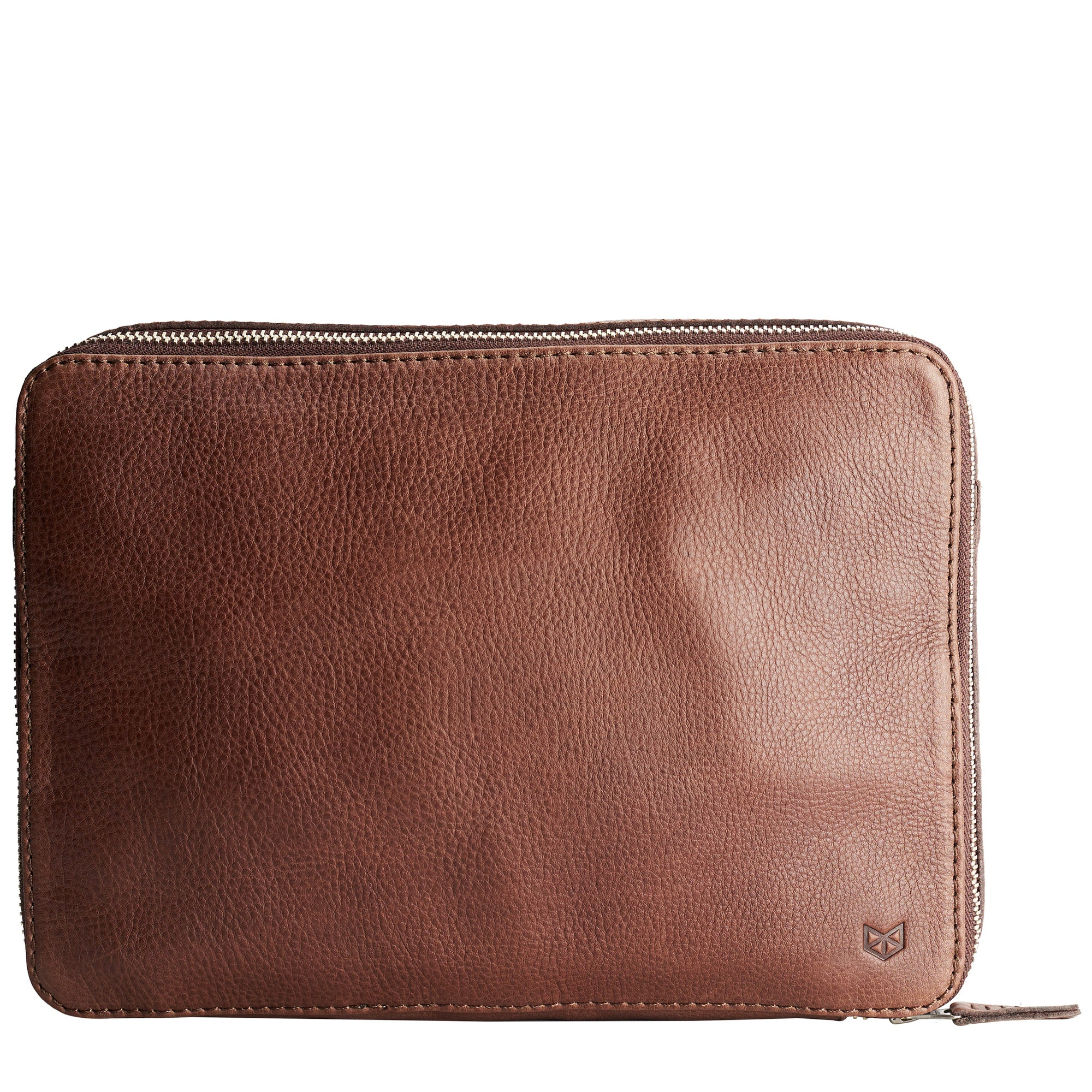 Men's brown leather tech laptop tablet bag is perfect to travel organized.