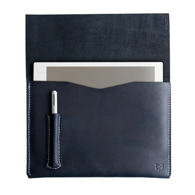 Cover. Blue handcrafted leather reMarkable tablet case. Folio with Marker holder. Paper E-ink tablet minimalist sleeve design.
