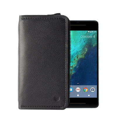 Cover. Black carefully handcrafted leather case stand wallet for new Google Pixel 2 and 2 XL. Men's Pixel sleeve with card holder.