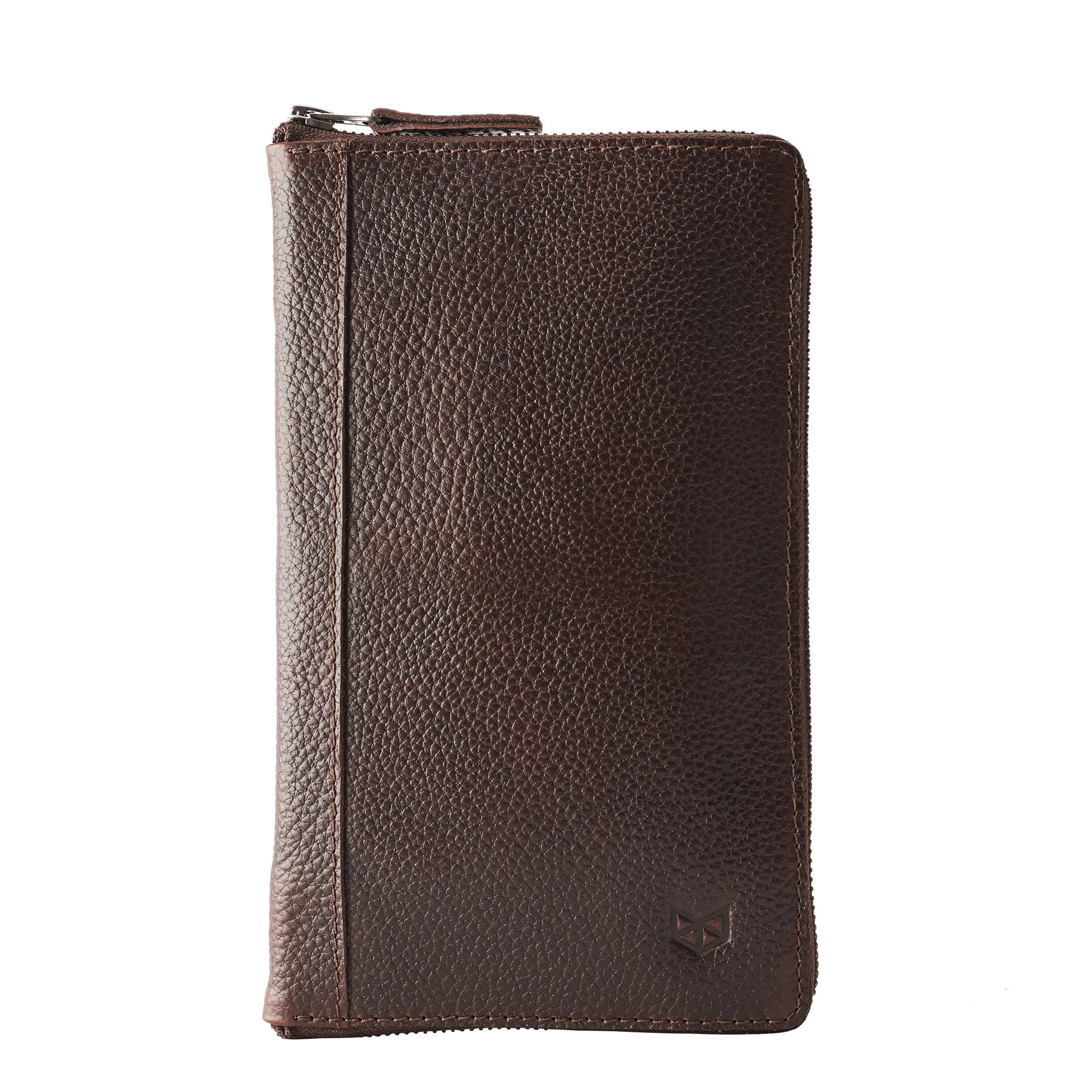 Cover.  Dark brown leather passport for travelers, gifts for men. Travel journal, document organizer holder