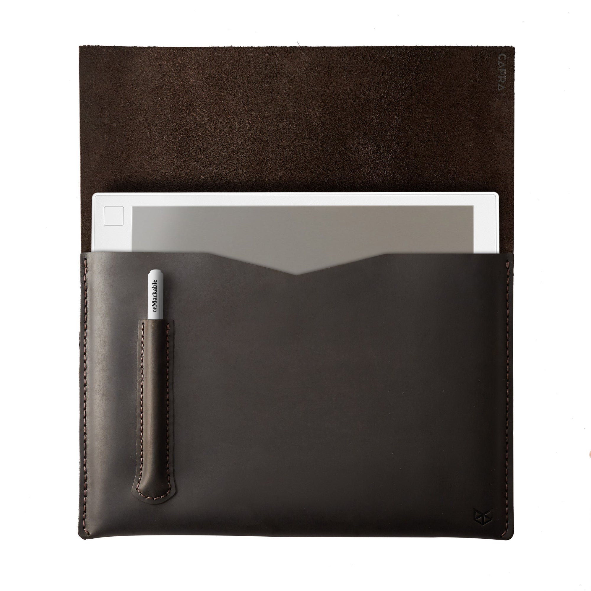 Cover. Brown handcrafted leather reMarkable tablet case. Folio with Marker holder. Paper E-ink tablet minimalist sleeve design.