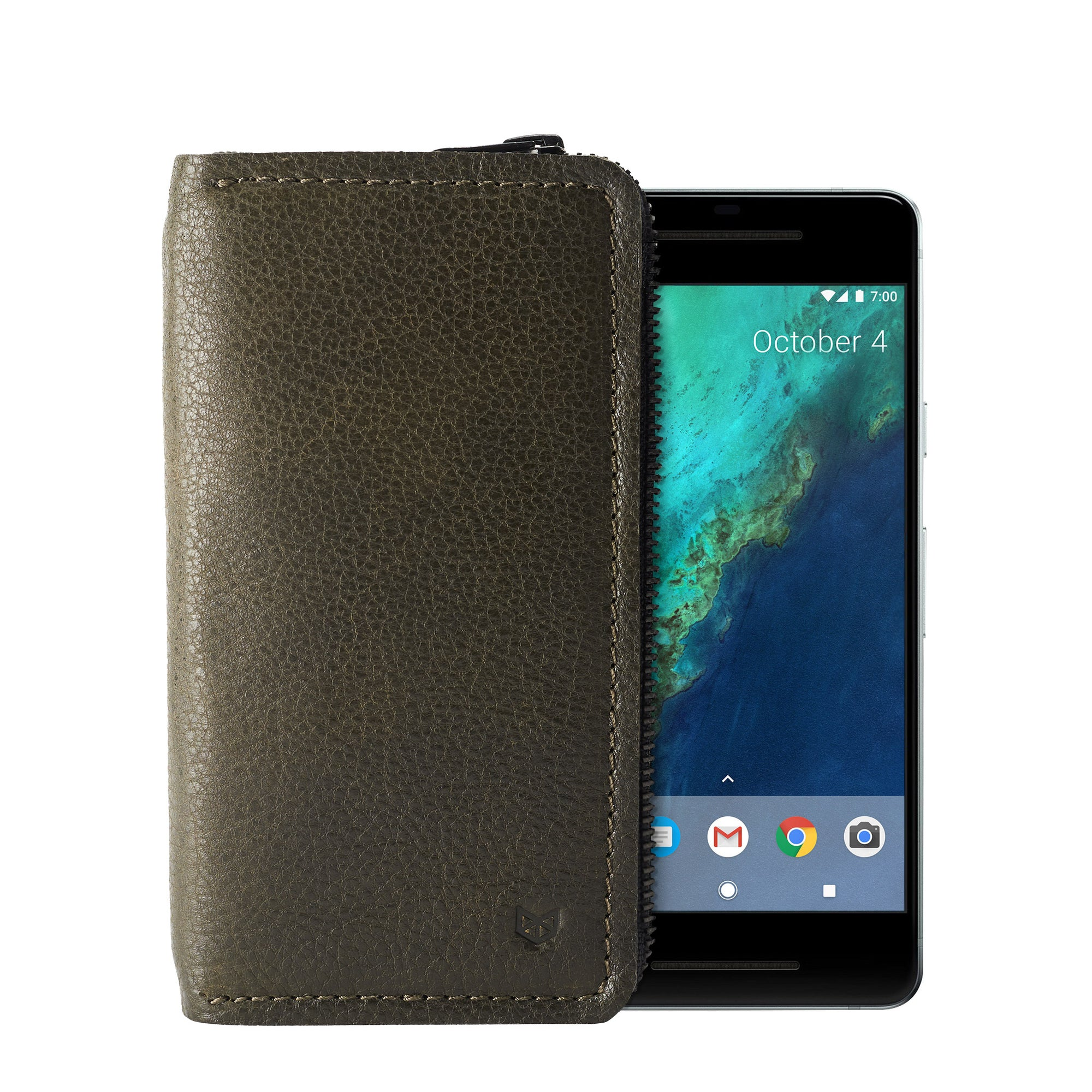 Cover. Green carefully handcrafted leather case stand wallet for new Google Pixel 2 and 2 XL. Men's Pixel sleeve with card holder.