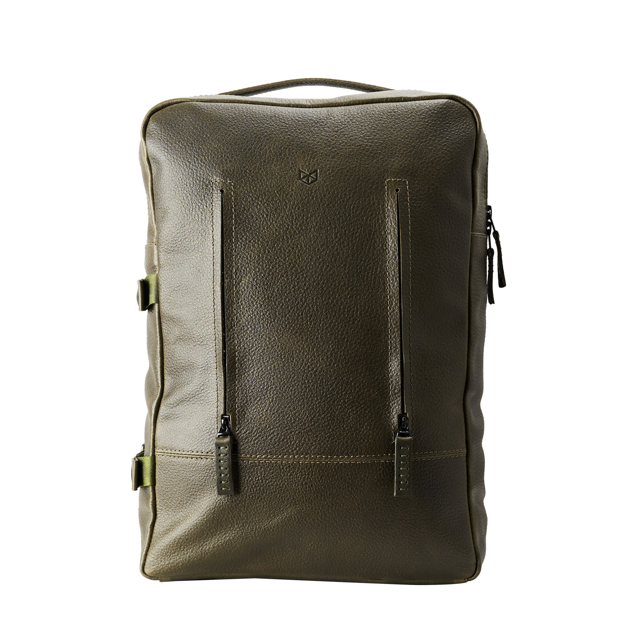 Green Leather Backpack for men. Designer unique rucksack