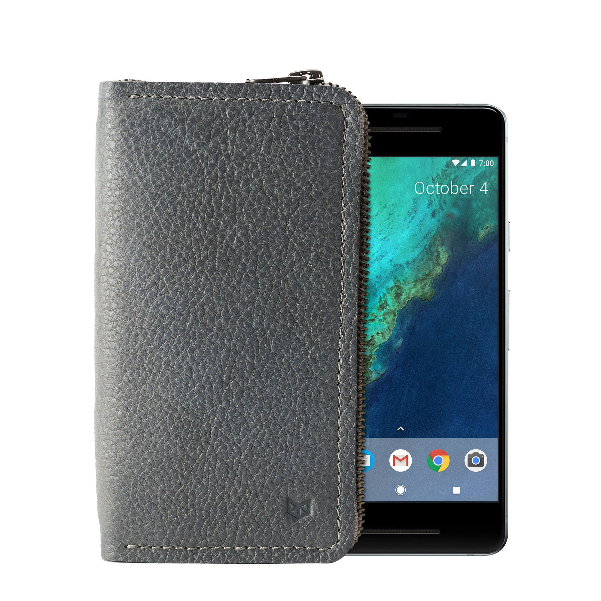Grey Carefully handcrafted leather case stand wallet for new Google Pixel 2 and 2 XL. Men's Pixel sleeve with card holder