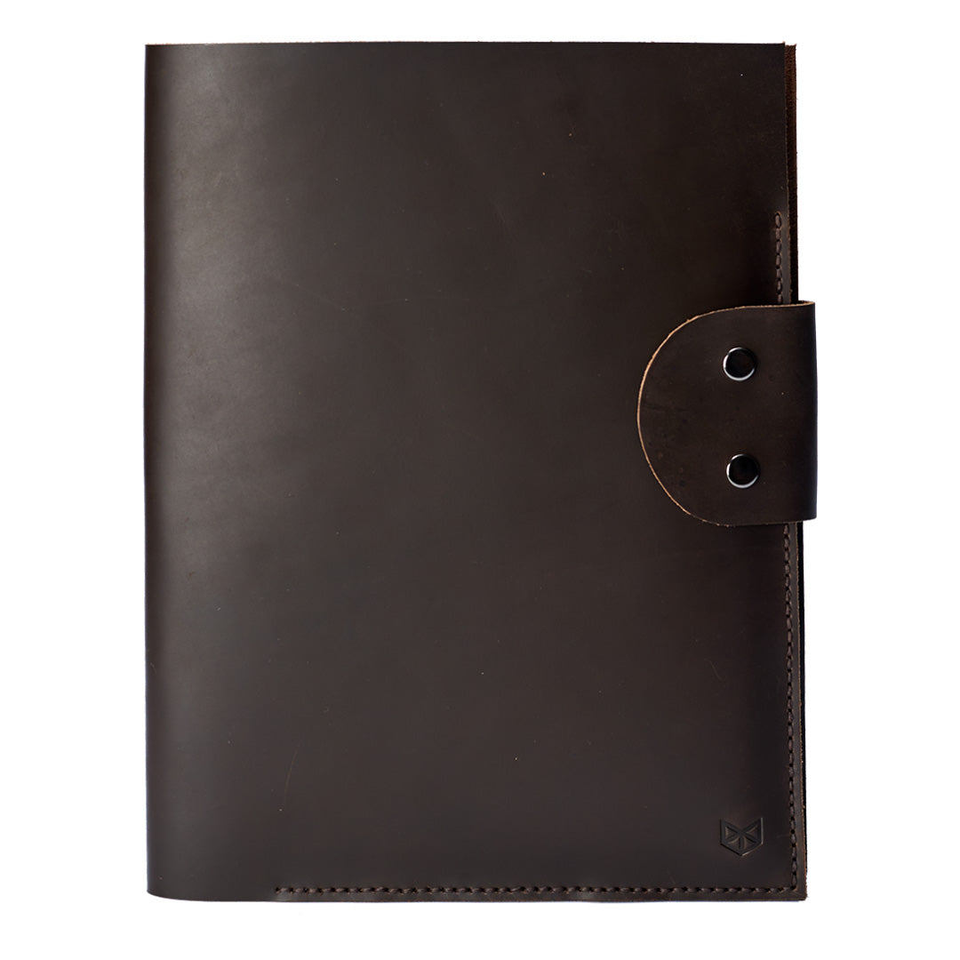 Marron Document Portfolio with Pockets for iPhone, A4 & Letter Papers Men Leather Legal Pad, Mens Gift.