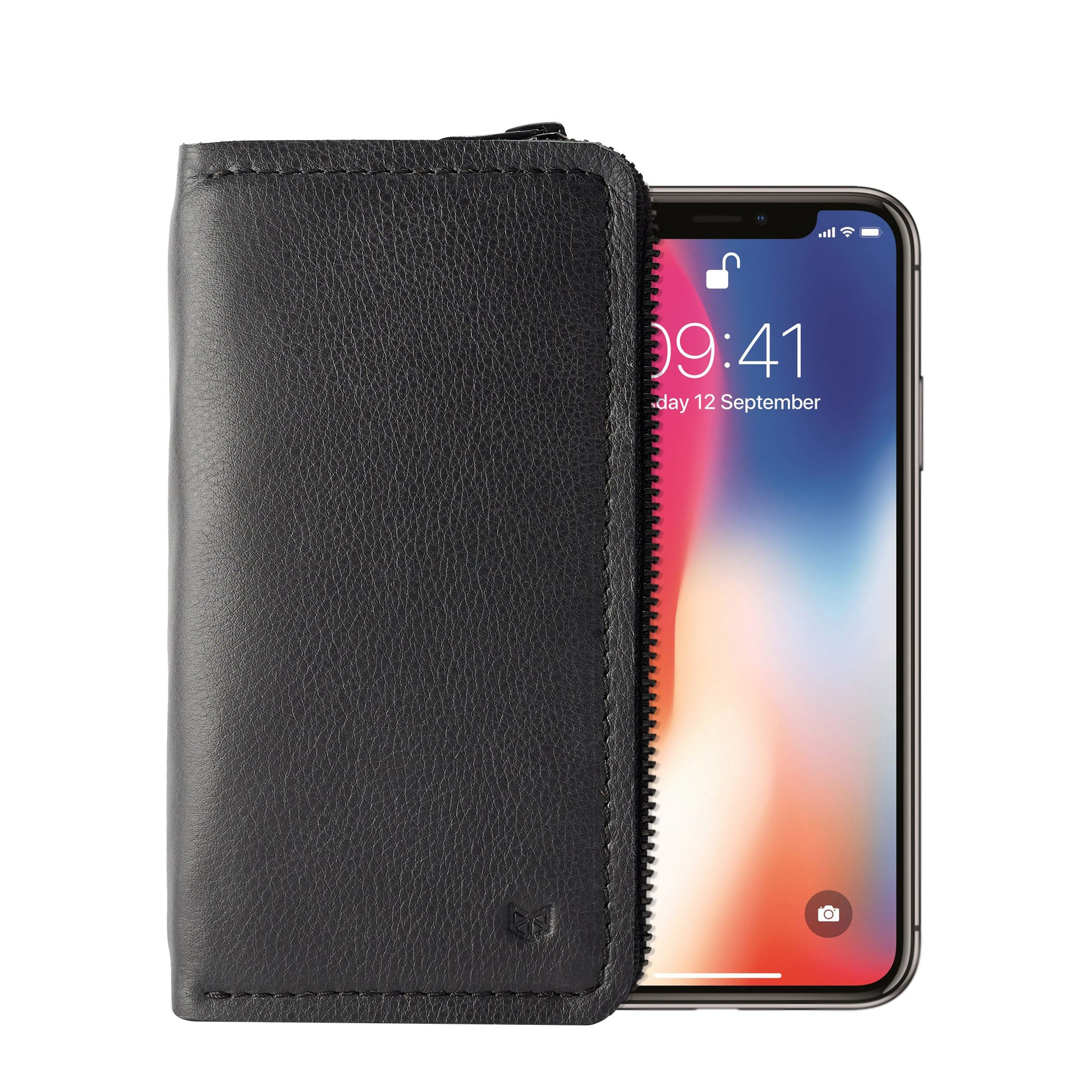 Black iPhone leather wallet stand case for mens gifts. iPhone x, iPhone 10, iPhone 8 plus leather stand sleeve