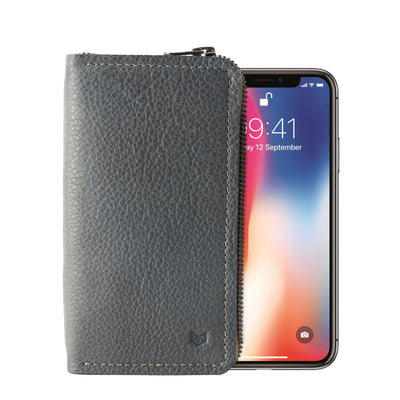 Grey iPhone leather wallet stand case for mens gifts. iPhone x, iPhone 10, iPhone 8 plus leather stand sleeve