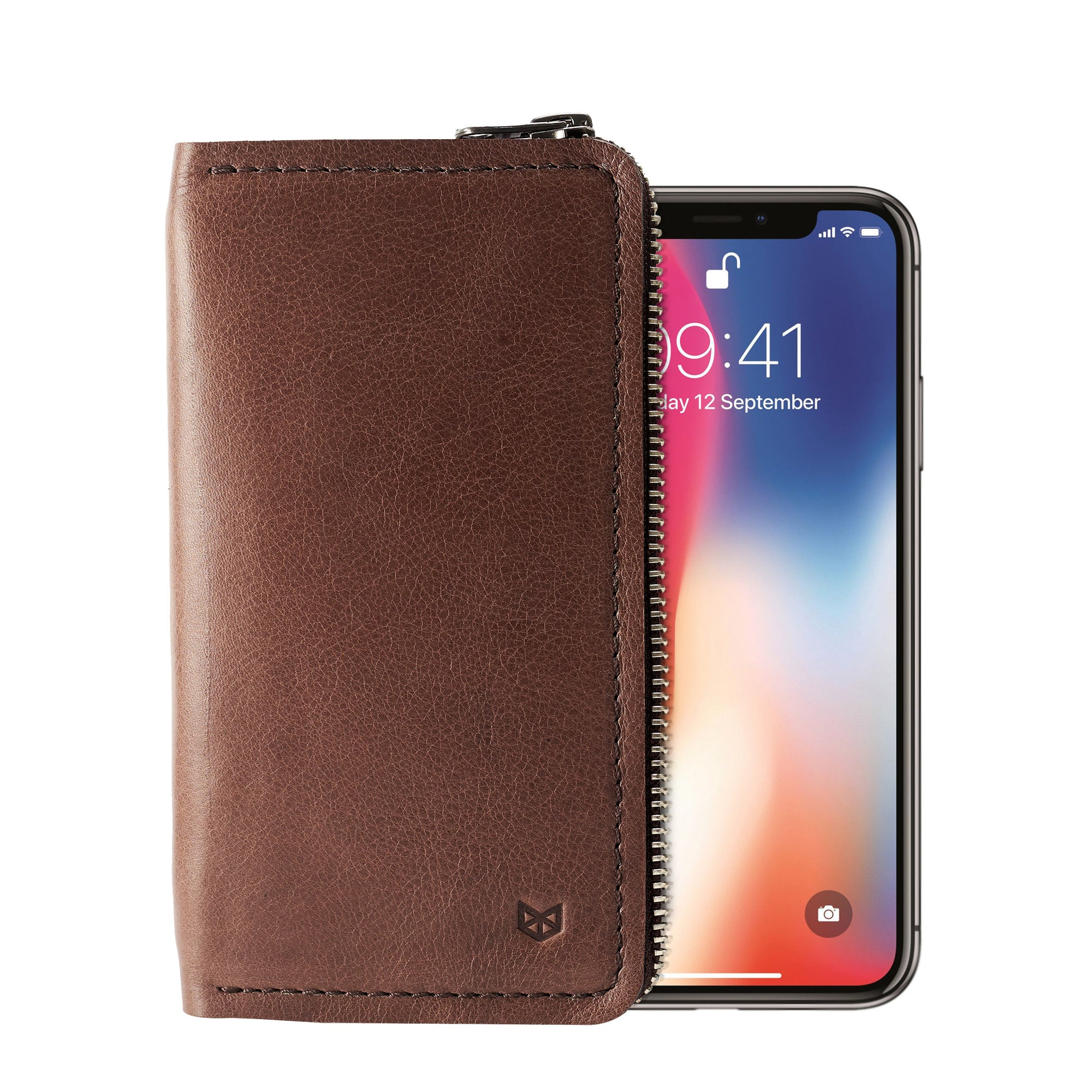 Brown iPhone leather wallet stand case for mens gifts. iPhone x, iPhone 10, iPhone 8 plus leather stand case