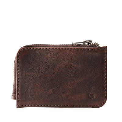 Cover. Minimalist dark brown zipper card holder. Men's bills and coins wallet. Slim designer credit cards holder