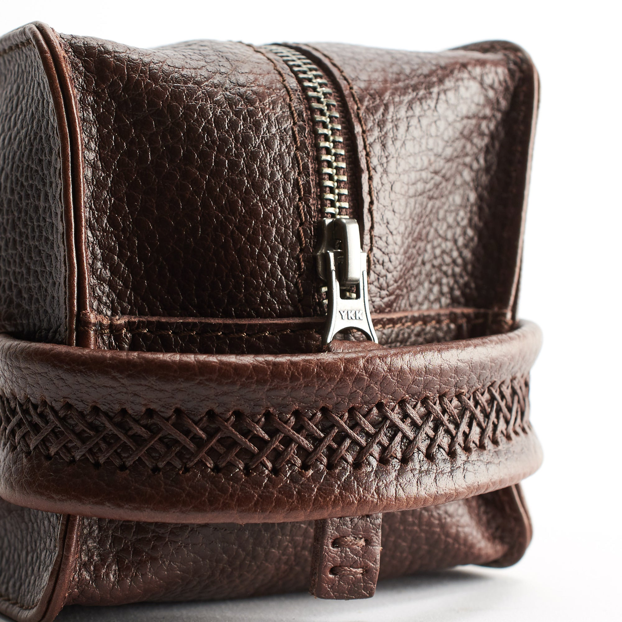 Dark Brown leather toiletry, shaving bag with hand stitched handle. Groomsmen gifts