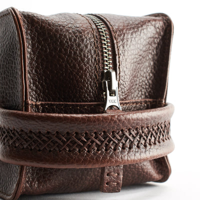 Hans stitch. Dark Brown leather toiletry, shaving bag with hand stitched handle. Groomsmen gifts